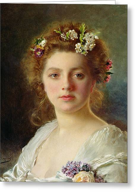Blushing Greeting Cards - Flora Greeting Card by Gustave Jacquet