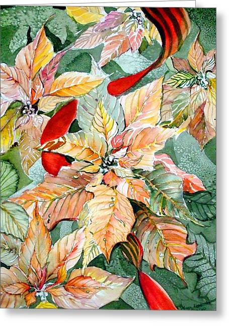Peach Drawings Greeting Cards - Flora Poinsettia Greeting Card by Mindy Newman