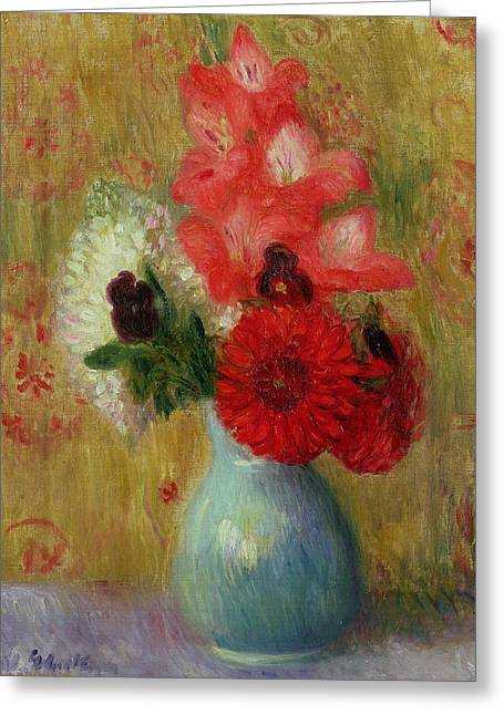 Signature Greeting Cards - Floral Arrangement in Green Vase Greeting Card by William James Glackens