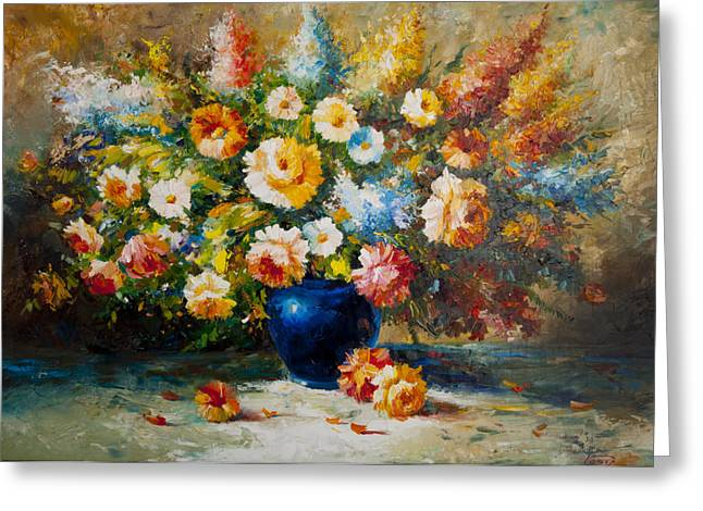 Flovers Greeting Cards - Floral Bouquet Greeting Card by Aydin Kalantarov
