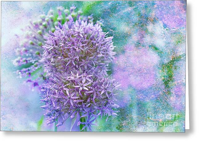 Burst Mixed Media Greeting Cards - Floral Burst Greeting Card by Elaine Manley
