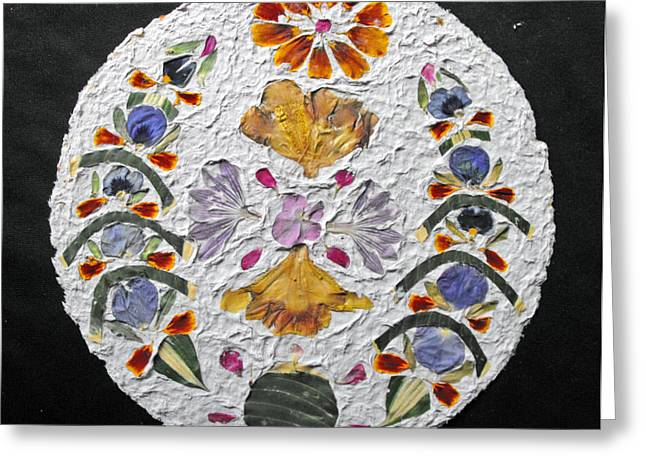 Floral Collage On Handmade Paper No. 2031 Greeting Card by Mircea Veleanu