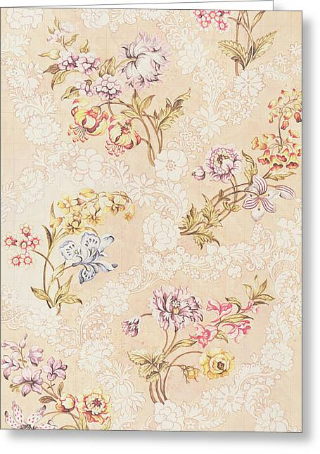 Textiles Tapestries - Textiles Greeting Cards - Floral design with peonies lilies and roses Greeting Card by Anna Maria Garthwaite