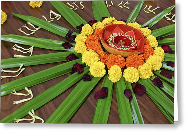 Marigold Festival Greeting Cards - Floral Display Hindu Festival Greeting Card by Kantilal Patel