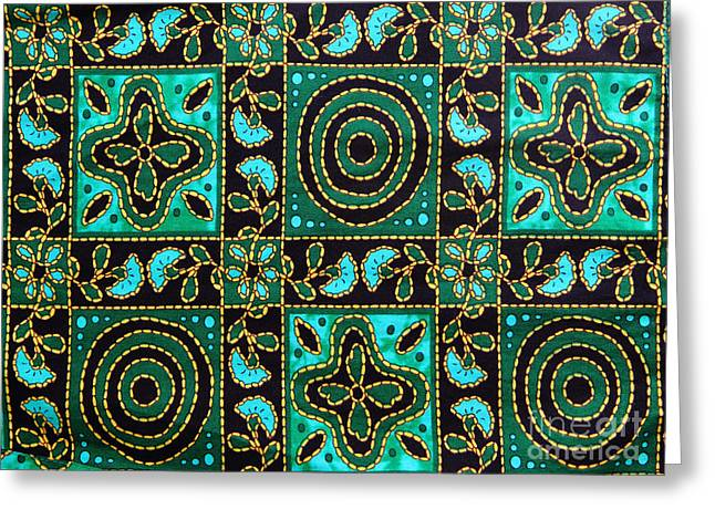 Bright Colors Tapestries - Textiles Greeting Cards - Floral fabric pattern Greeting Card by Phalakon Jaisangat