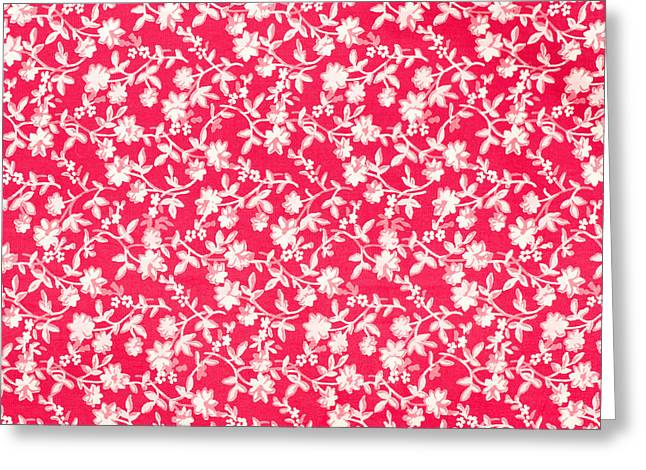 White Cloth Greeting Cards - Floral fabric Greeting Card by Tom Gowanlock