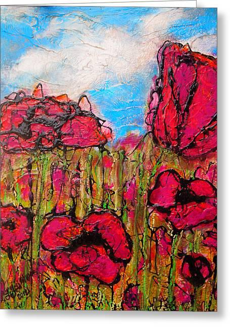Laura Grisham Mixed Media Greeting Cards - Floral Fields Greeting Card by Laura  Grisham