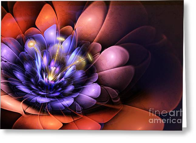 Fractal Flower Greeting Cards - Floral Flame Greeting Card by John Edwards