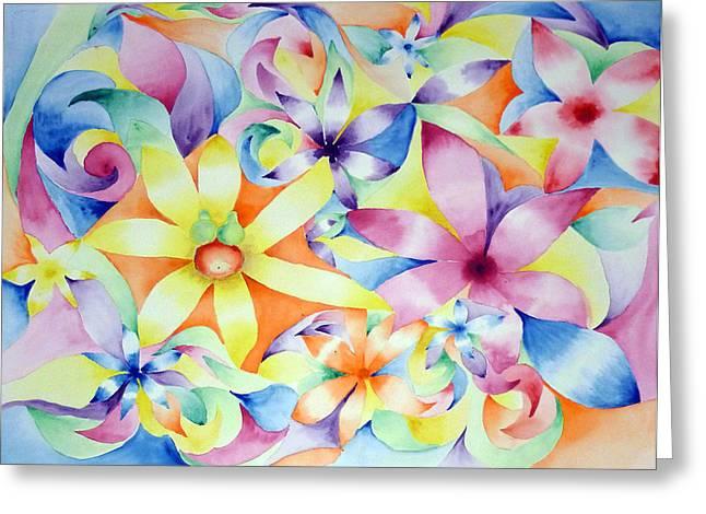 Floral Fractal Greeting Card by Linda Pope