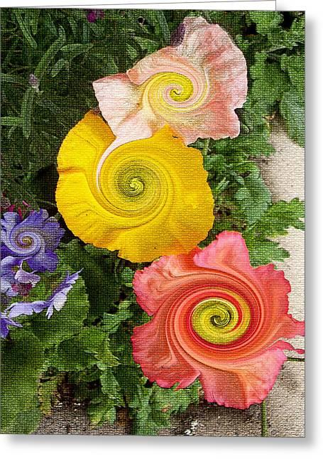 Floral Digital Art Digital Art Greeting Cards - Floral Kaleidoscope Greeting Card by Donna Blackhall