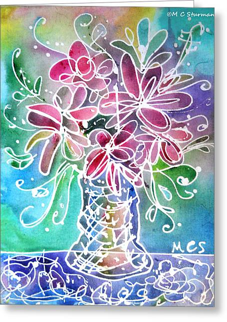Table Cloth Mixed Media Greeting Cards - Floral Greeting Card by M C Sturman