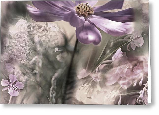Soft Light Mixed Media Greeting Cards - Floral Montage 2 Greeting Card by Bonnie Bruno