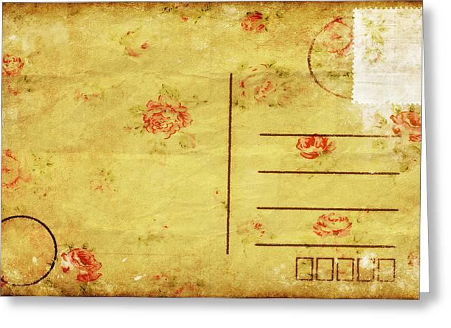 Rag Paper Greeting Cards - Floral Pattern On Old Postcard Greeting Card by Setsiri Silapasuwanchai
