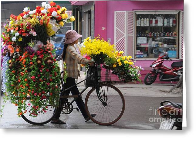 Plastic Greeting Cards - Floral ride Greeting Card by Marion Galt