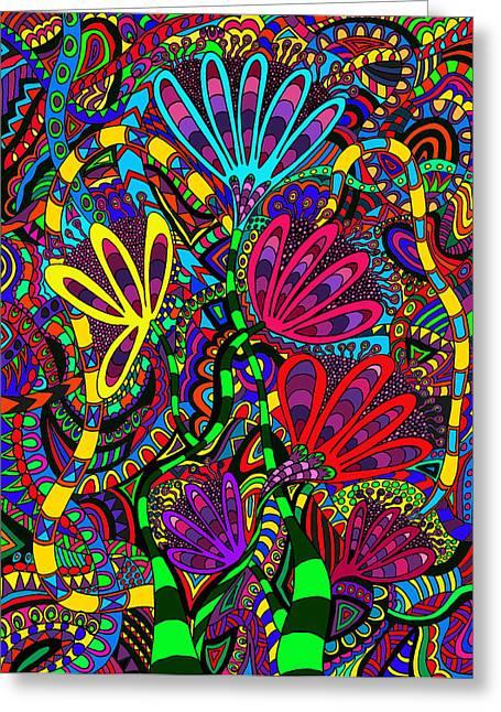 Most Sold Digital Art Mixed Media Greeting Cards - Floral rush 1 Greeting Card by Karen Elzinga