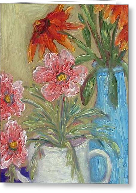 Pallet Knife Greeting Cards - Floral Still Life with Frog Greeting Card by Susan  Spohn