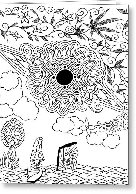 Counterculture Greeting Cards - Floral Sun Greeting Card by Andrew Padula