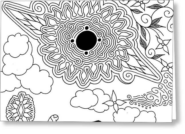 floral sun Greeting Card by Andrew Padula