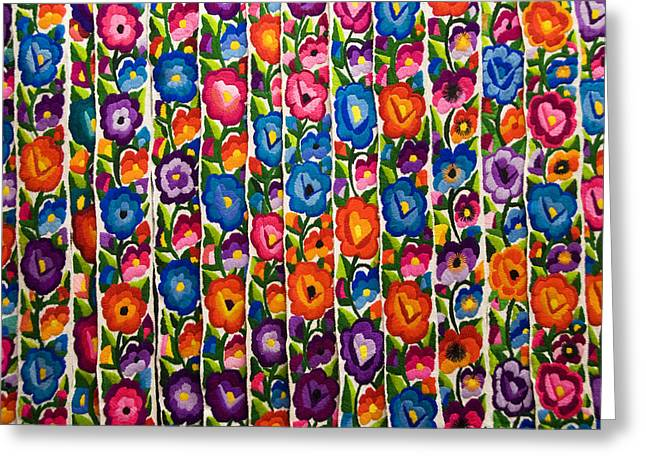 Patch Quilts Greeting Cards - Floral Textile Greeting Card by Gloria & Richard Maschmeyer