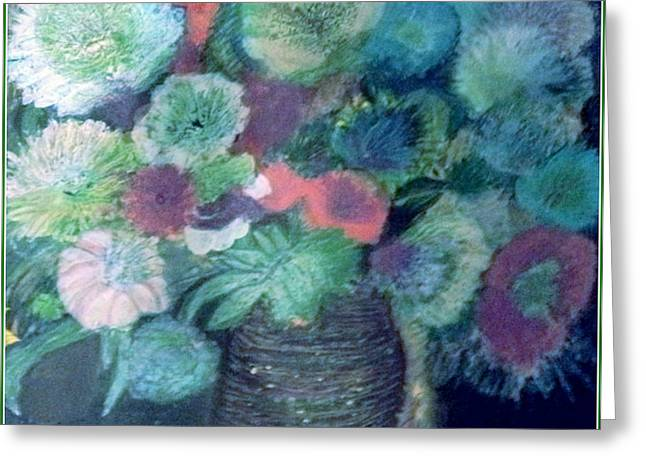 Floral With Blues Greeting Card by Anne-Elizabeth Whiteway