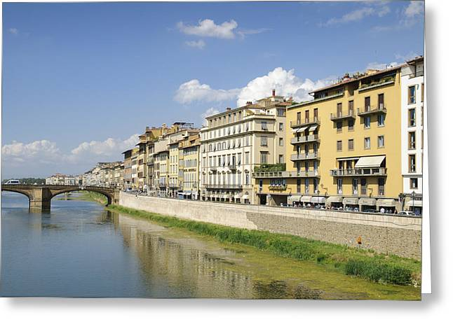 Florence Greeting Cards - Florence Arno river and houses Greeting Card by Matthias Hauser
