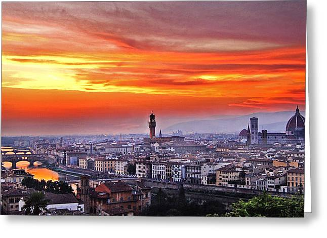 Ocean Panorama Greeting Cards - Florence at sunset Greeting Card by Tommaso Olivieri