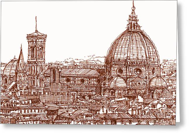 Pen And Ink Framed Prints Greeting Cards - Florence Duomo in red Greeting Card by Lee-Ann Adendorff