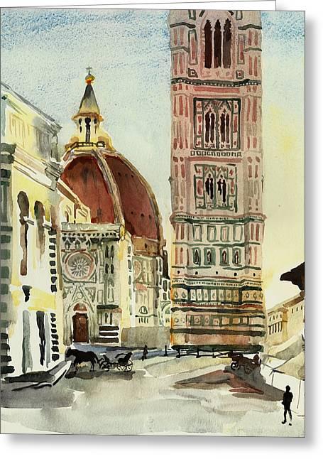 Cupola Paintings Greeting Cards - Florence Duomo Greeting Card by Natalia Sinelnik