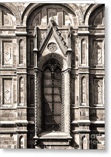 Florence Italy - Duomo Stained Glass - 02 - Sepia Greeting Card by Gregory Dyer