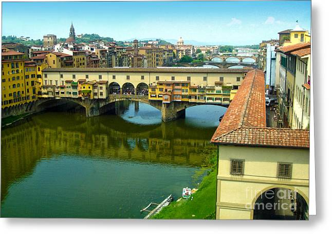 Gregory Dyer Greeting Cards - Florence Italy - Ponte Vecchio from the Uffizzi Greeting Card by Gregory Dyer