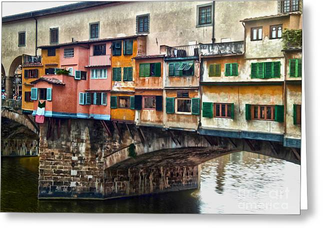 Florence Italy - Ponte Vecchio Greeting Card by Gregory Dyer