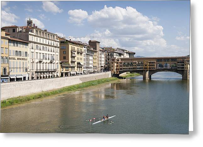 Canoeist Greeting Cards - Florence Italy Arno River Ponte Veccio bridge Greeting Card by Matthias Hauser