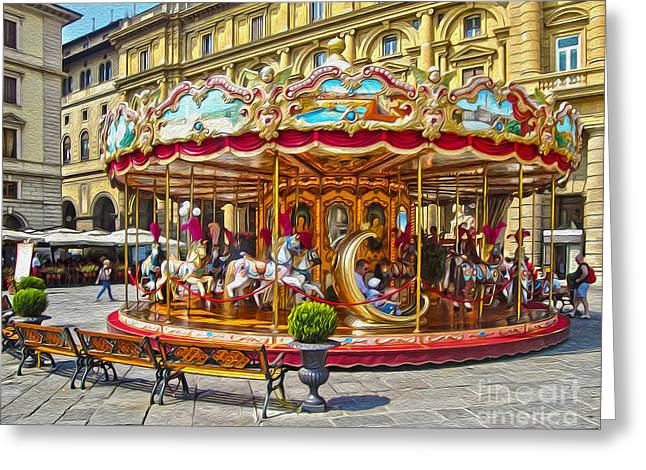 Florence Italy Carousel - 02 Greeting Card by Gregory Dyer