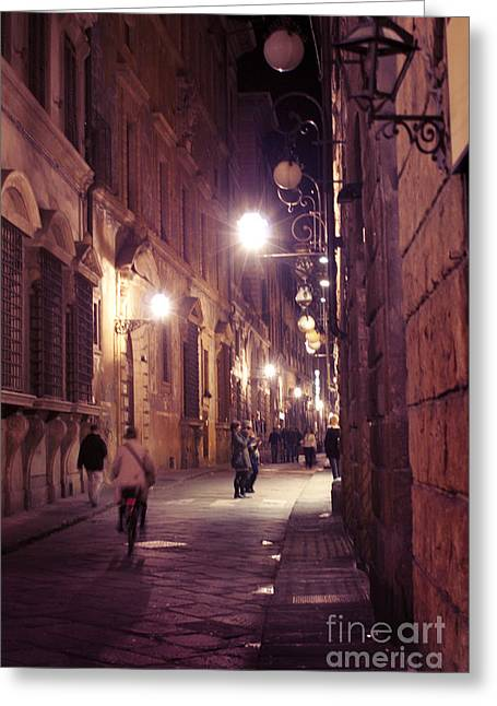 Streetlight Greeting Cards - Florence narrow streets Greeting Card by Yuliya Krasnopeeva