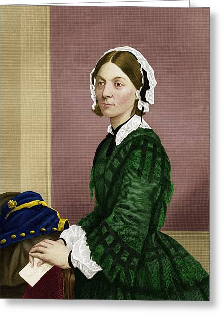 Reform Greeting Cards - Florence Nightingale, Nursing Pioneer Greeting Card by Maria Platt-evans