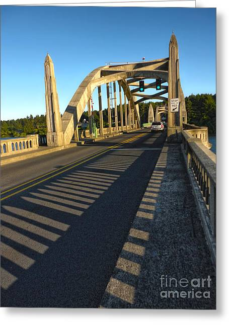 Gregory Dyer Greeting Cards - Florence Oregon - Art Deco Bridge Greeting Card by Gregory Dyer