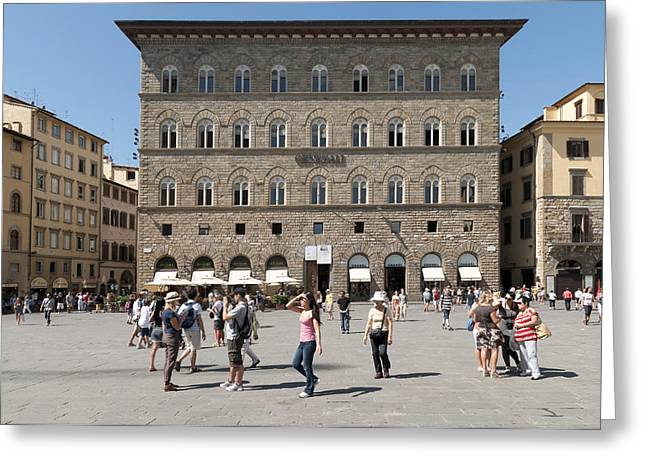 Touristy Greeting Cards - Florence Piazza della Signoria Greeting Card by Matthias Hauser