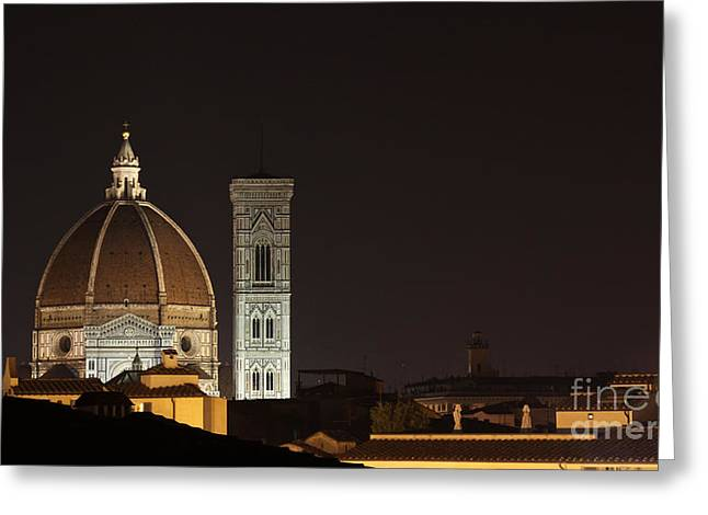 Chris Hill Greeting Cards - Florence Skyline at Night Greeting Card by Chris Hill