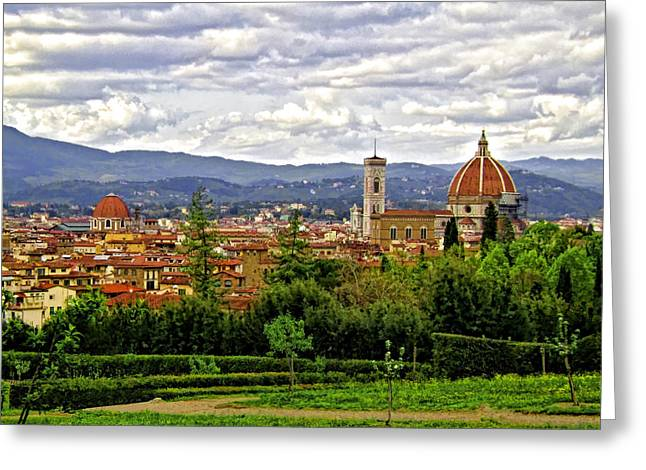Florence Digital Art Greeting Cards - Florence Skyline Greeting Card by Lynn Andrews
