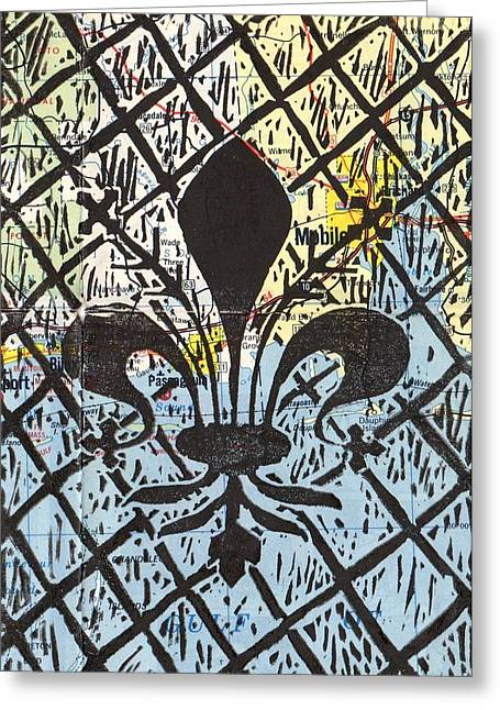 Linoleum Block Print Mixed Media Greeting Cards - Florentine Fleur Gulfport Mobile Greeting Card by Julia Forsyth
