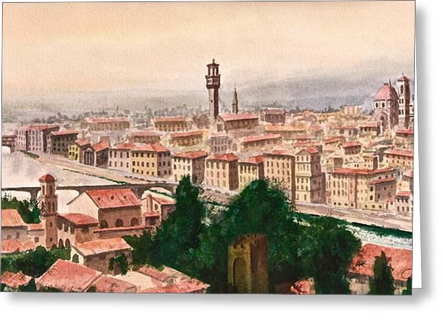 Fiorenza Greeting Cards - Florentine Panorama Greeting Card by Frank SantAgata