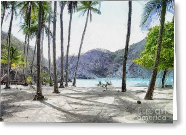 Beach Landscape Drawings Greeting Cards - Florida beach Greeting Card by Murphy Elliott