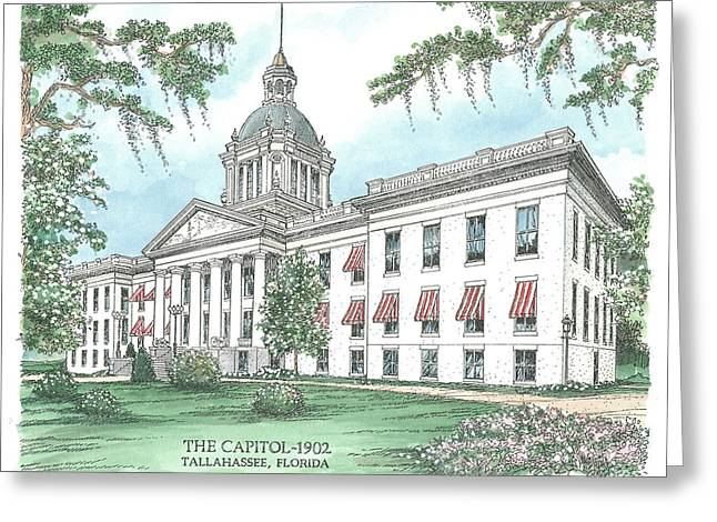 Downtown Drawings Greeting Cards - Florida Capitol 1902 Greeting Card by Audrey Peaty