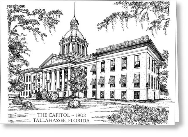 Historical Images Drawings Greeting Cards - Florida Capitol 1902 Ink Greeting Card by Audrey Peaty