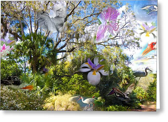 Florida Collage Greeting Card by Betsy Knapp