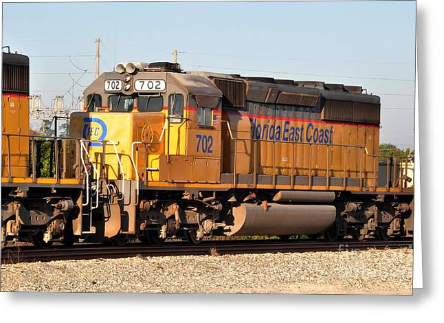 Fec Greeting Cards - Florida East Coast SD40-2 702 Greeting Card by John Black