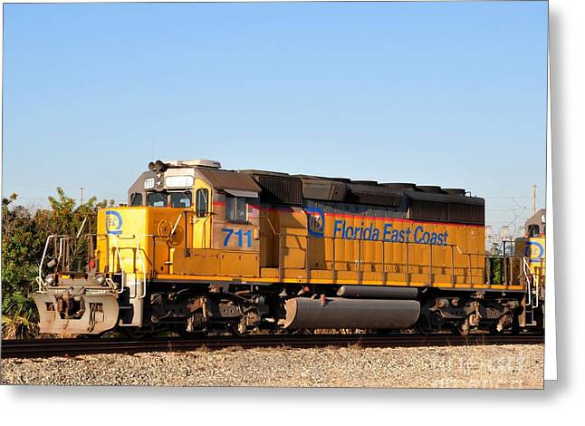 Fec Greeting Cards - Florida East Coast SD40-2 711 Greeting Card by John Black