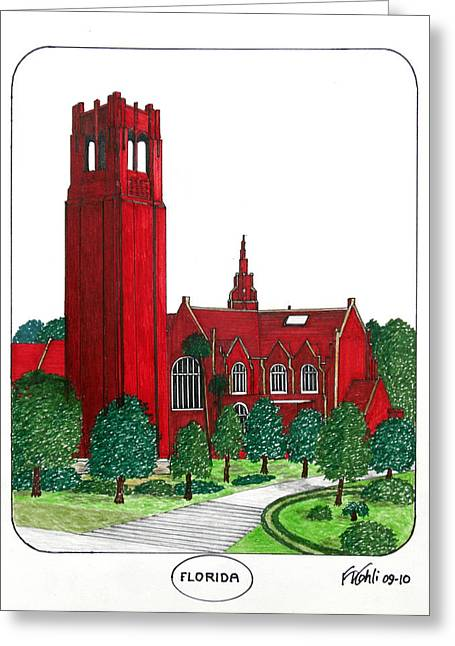 Sec Campus Buildings Drawings Greeting Cards - Florida Greeting Card by Frederic Kohli