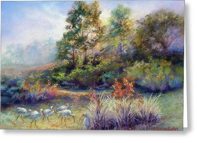 Florida Ibis Landscape Greeting Card by Denise Horne-Kaplan