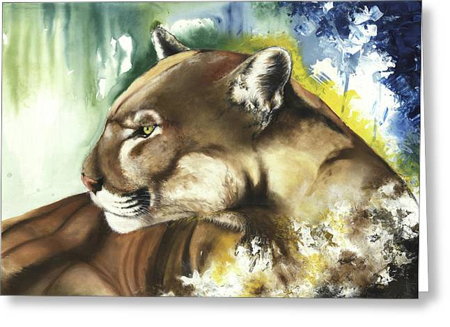 Tree Roots Mixed Media Greeting Cards - Florida panther  Greeting Card by Anthony Burks Sr